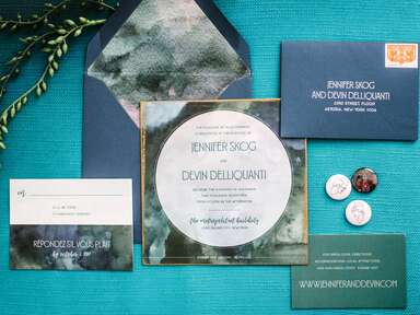 teal and navy modern wedding invitations