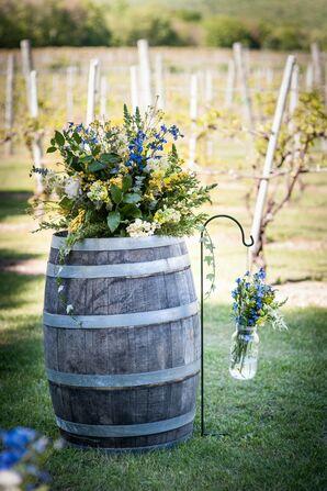 Rustic Wine Barrel Ceremony Decor
