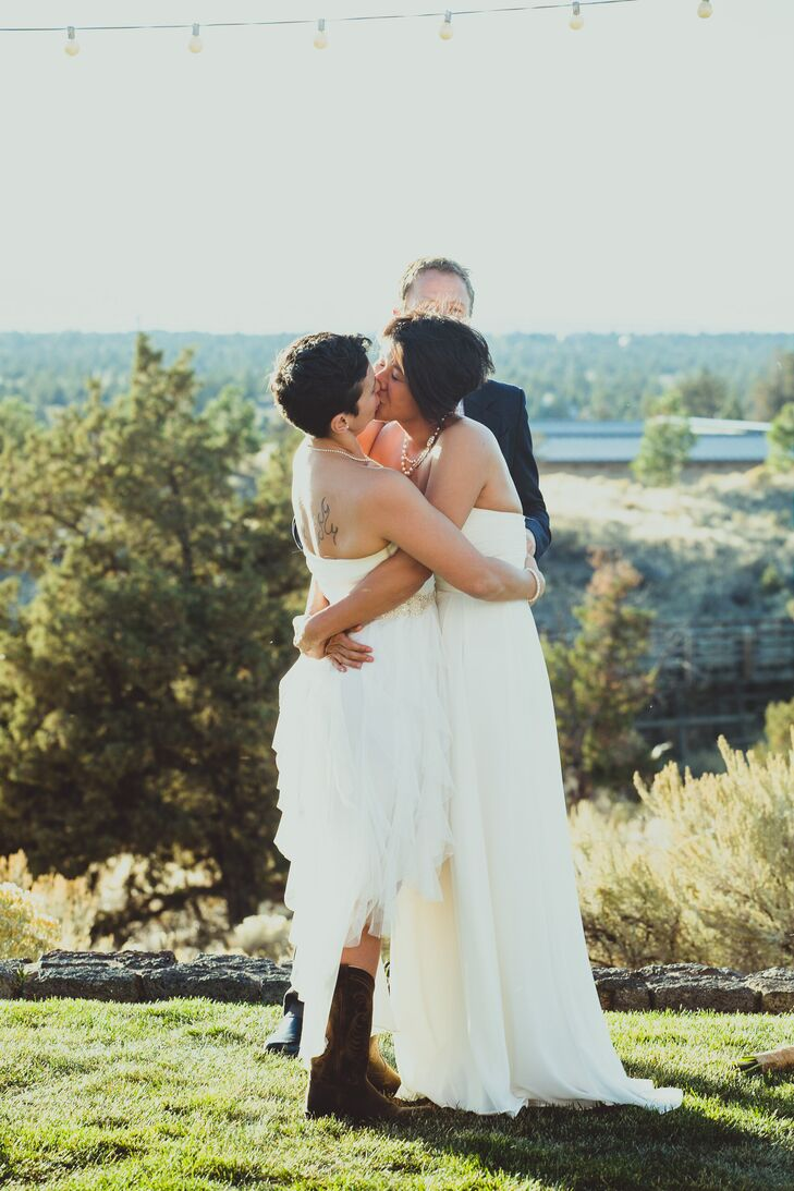 Jackie and Sarah have their first kiss as a married couple with a beautiful country backdrop on Brasada Ranch.