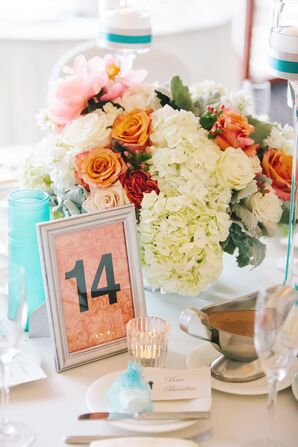 White Hydrangea and Coral Rose Centerpieces