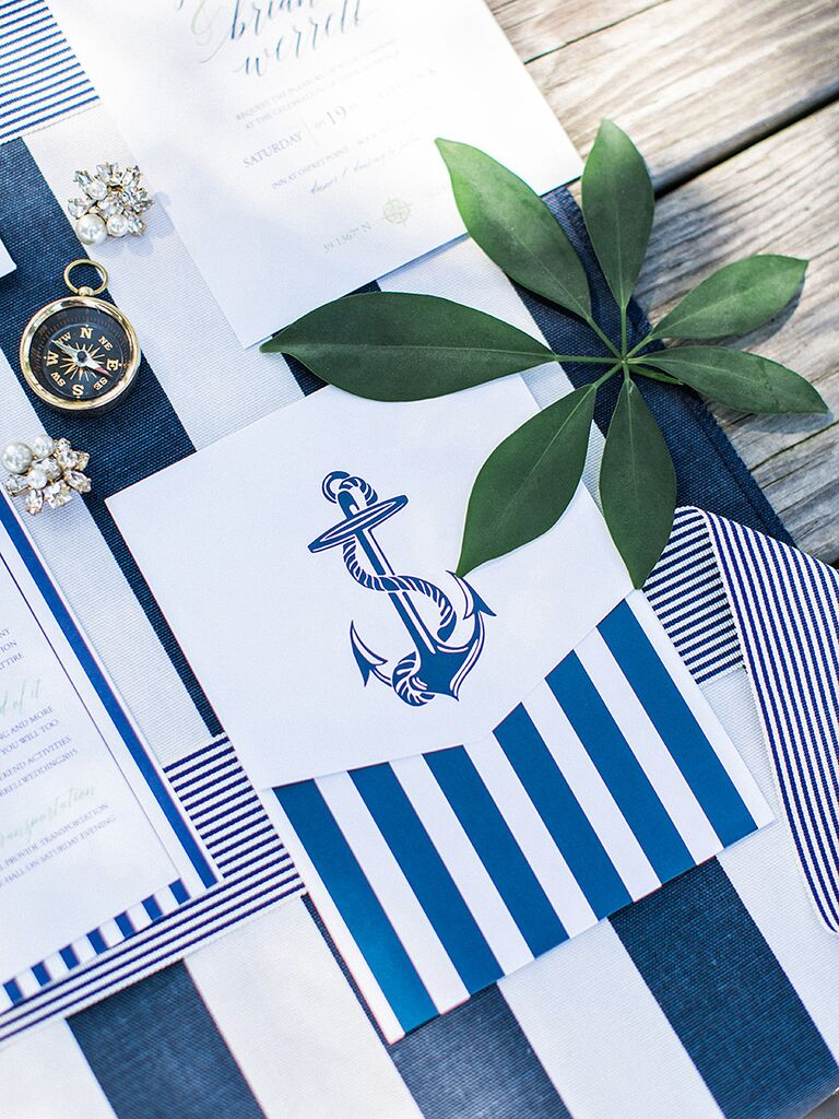 White and navy nautical invitation suite