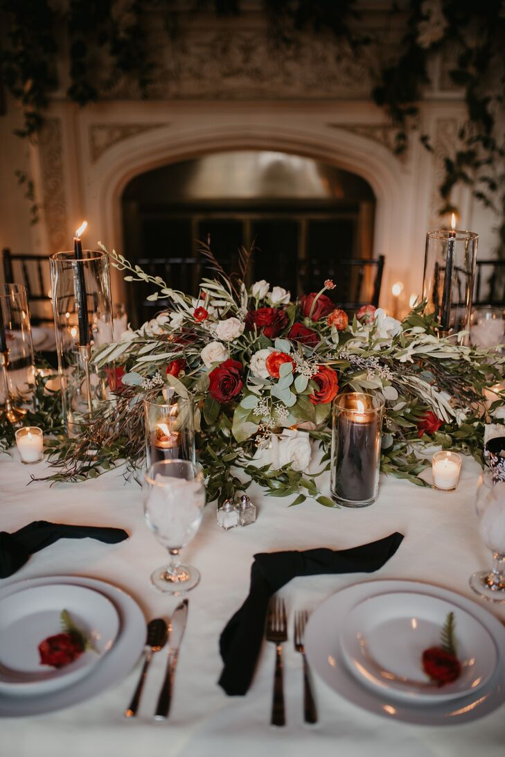 Formal Dinner Table with Red Rose Centerpieces
