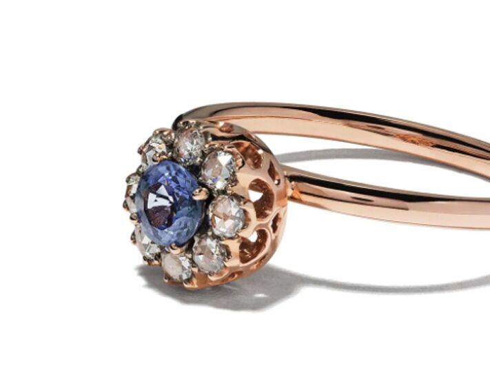 Diamond and sapphire rose gold engagement ring