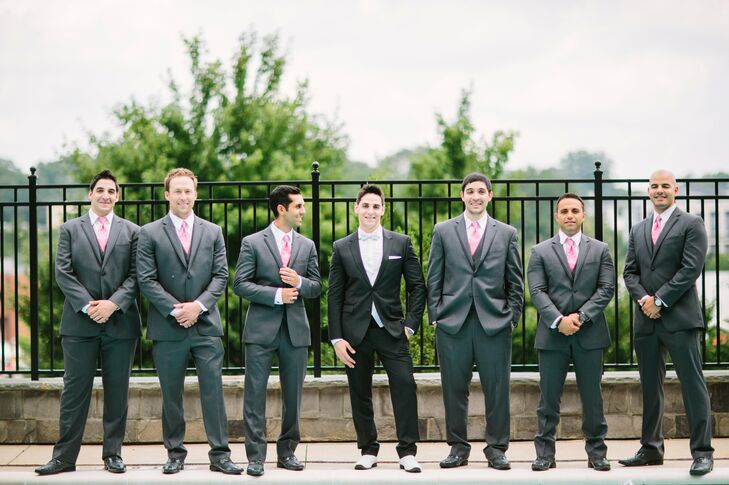 Ramin's black Hugo Boss tuxedo stood out from his groomsmen gray Vera Wang suits.