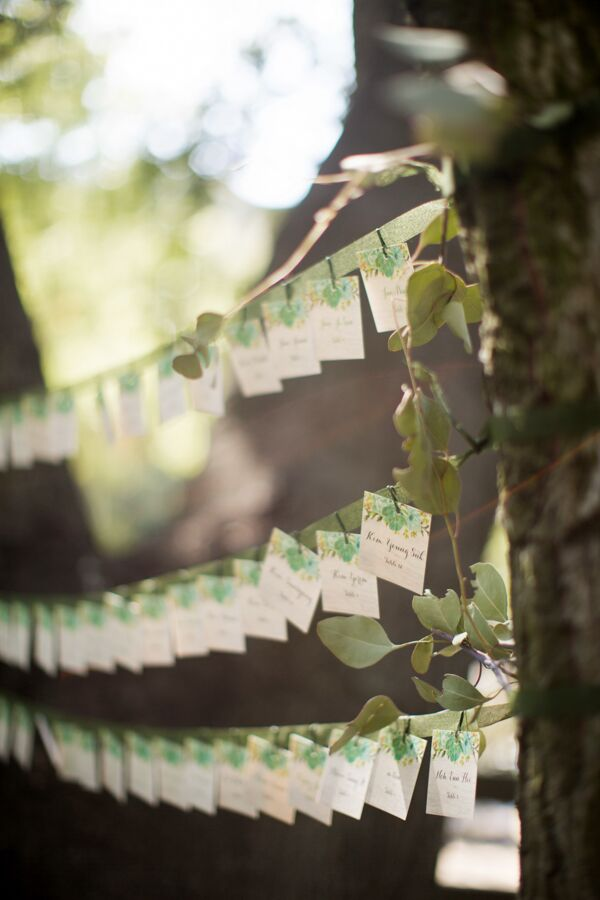 On their way from the ceremony to the reception, guests plucked their handcrafted escort card from a line of twine strung between tree branches.