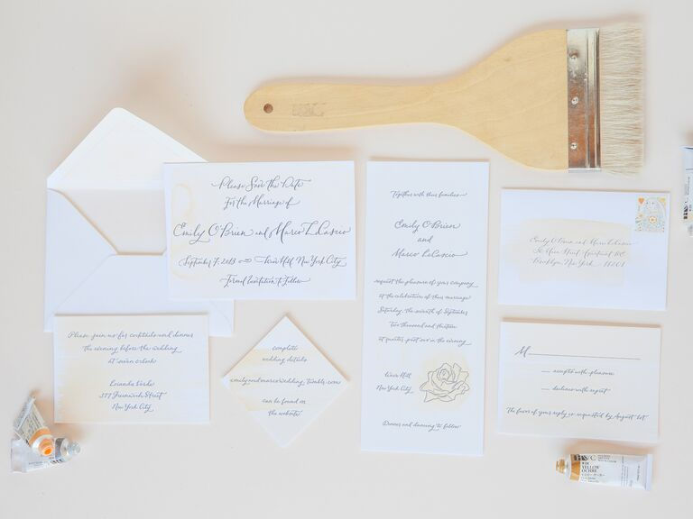 Katie Fischer design brushstroke wedding invitation