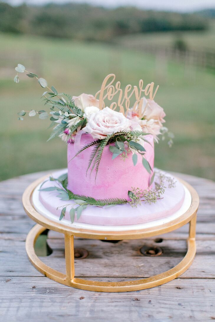 Small Pink Wedding Cake at Lauxmont Farms in Wrightsville, Pennsylvania