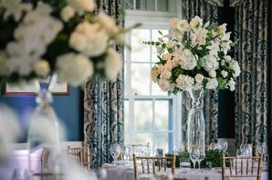 All-White Lily, Rose and Hydrangea Glass Centerpieces