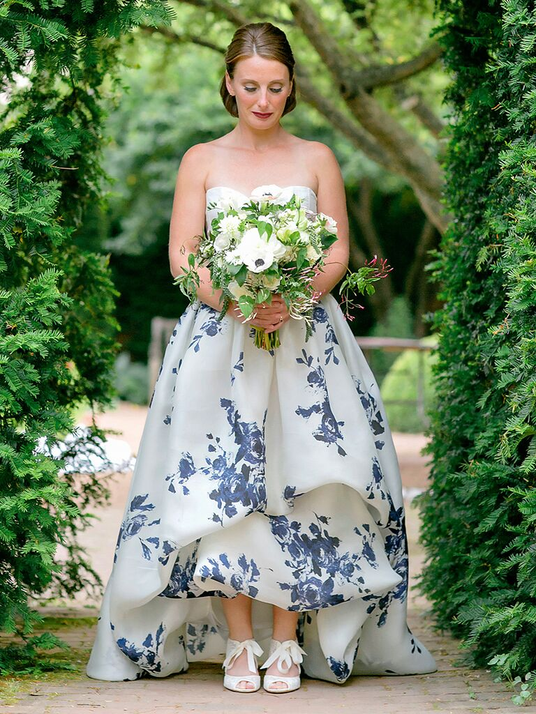 Francesca Miranda wedding gown with a blue floral design