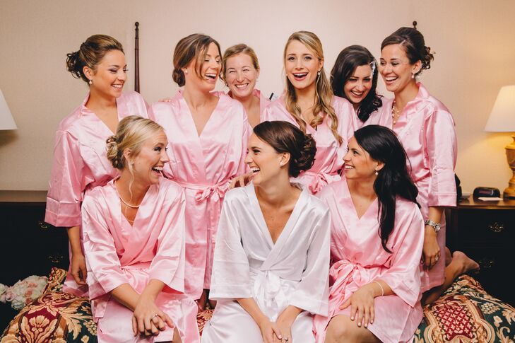 Before the ceremony, Allison and her bridesmaids primped in white and pink silk robes.