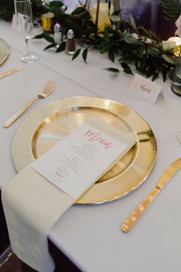 Gold Flatware and Placesetting with White Menu Card