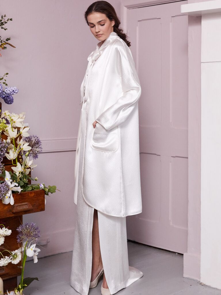 Halfpenny London 2020 Bridal Collection column wedding dress with long coat