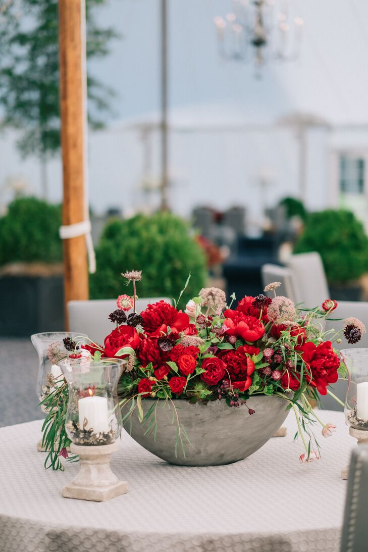 Red Peony Centerpiece in Cement Vase