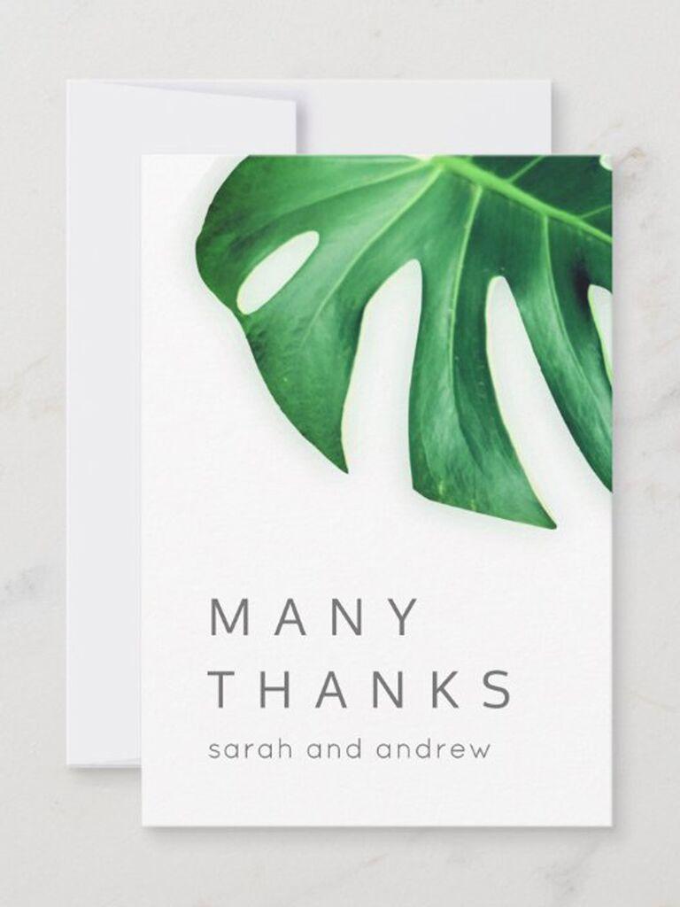 minimalist leaf wedding thank-you card