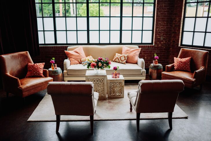 Modern Lounge Furniture, Brick Walls and Industrial Windows