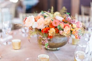 Rustic Peach Rose and Ranunculus Centerpieces