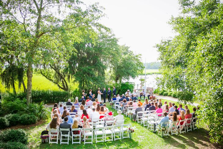 Chelsey and Matt wanted to have the best of both worlds with their venue: A place that had quintessential Southern charm with waterfront options and plenty of oak trees for the ceremony and an indoor space that was air-conditioned for the July reception in South Carolina.
