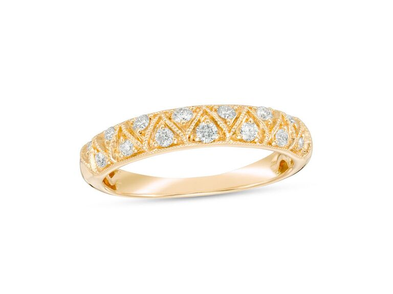 Zales diamond zig-zag vintage-style engagement ring in 14K yellow gold