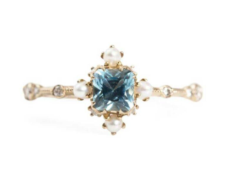 Aquamarine and pearl engagement ring