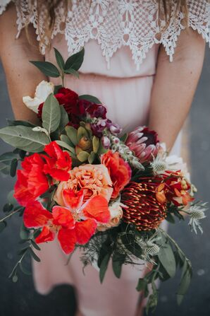 Succulent, Protea and Thistle Bouquet