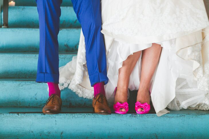 Jill searched high and low for the perfect pair of hot pink pumps, but when she couldn't find them, she turned to Shoes of Prey and designed her dream heels herself. The silk peep-toe shoes had a bow on each toe and a gold glitter heel. (They were Jill's favorite part of her outfit.)