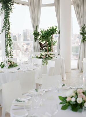 Modern White Loft Reception with Green Plant Centerpieces