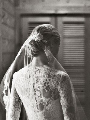 Marchesa Long-Sleeve Wedding Dress With Veil