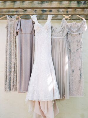 Gray Sequined Bridesmaid Dresses