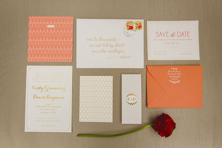 Carly and David's invitation suite was designed by Alisa Bobzien. They used Art Deco and honeycomb patterns as well as a coral, white and gray/silver color palette. Botanical details were also incorporated to connect to the couple's venue.