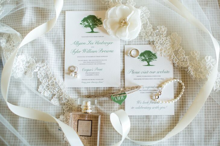 Formal Green Invitations with Tree Motif