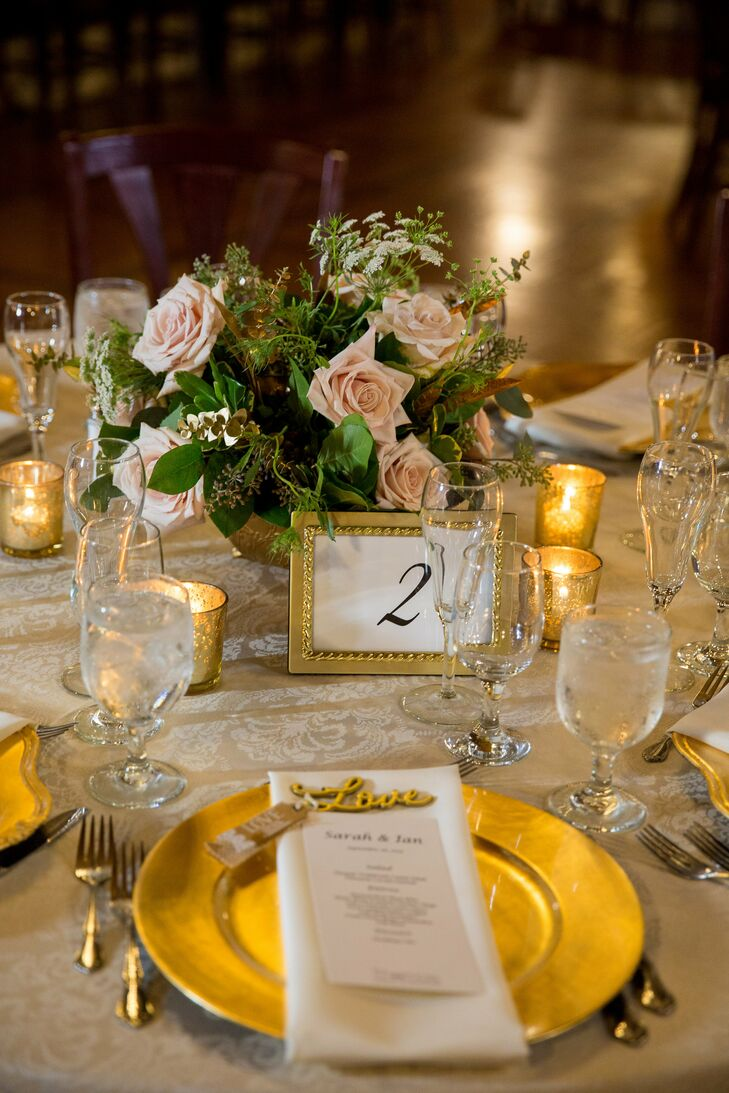 "The goal in creating a classy, elegant celebration was accomplished through gold chargers, candelabras, linens, centerpieces and party favors. ""There was so much golden goodness, it was like a golden heaven,"" Sarah says."