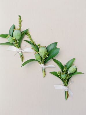 Scabiosa Pod and Greenery Boutonnieres Tied with White Ribbon