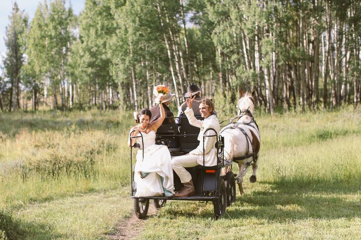 """Kelly and Daniel completed their ceremony and rode to the reception site in a horse and buggy while the band (Kelly's cousin and Daniel's brothers) played """"All You Need is Love"""" by The Beatles."""