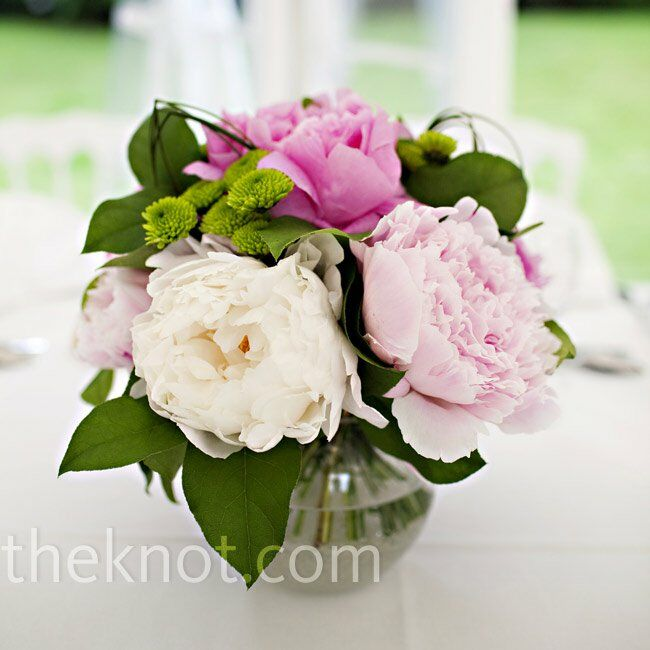 Pink Peony Centerpieces Favorite Fluffy Light And Dark Peonies Filled Small Round Vases On Each Table
