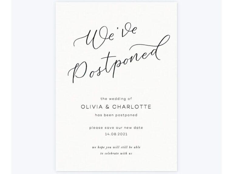 Wedding Postponement Card Papier