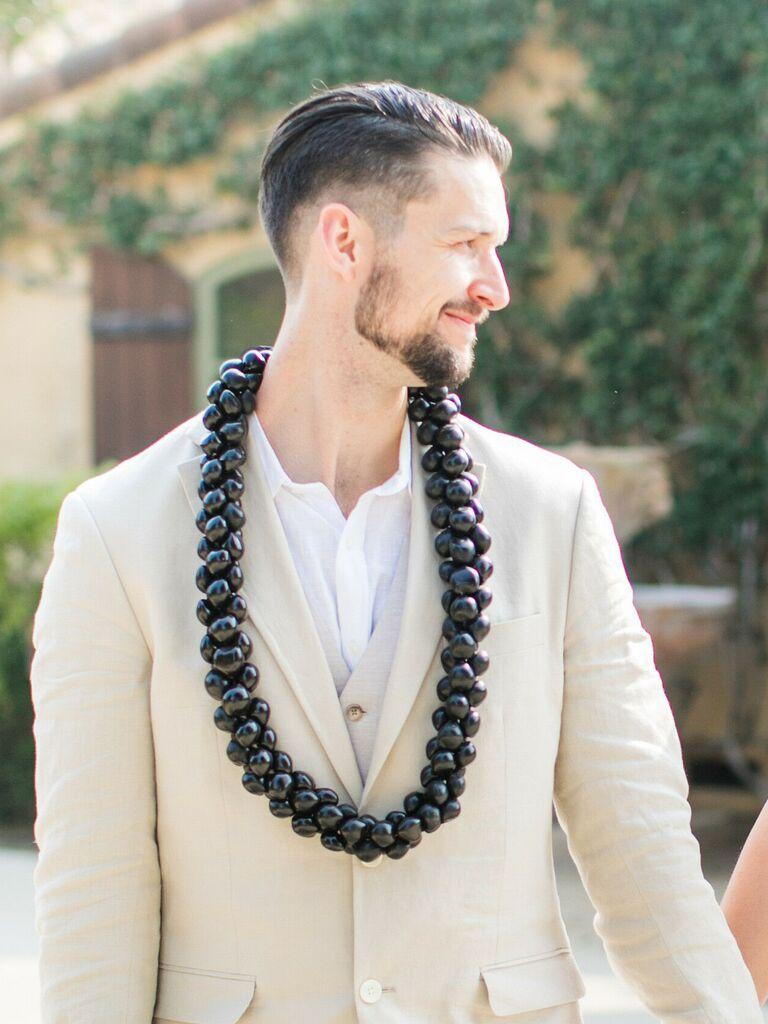 men's wedding haircut slicked-back fade
