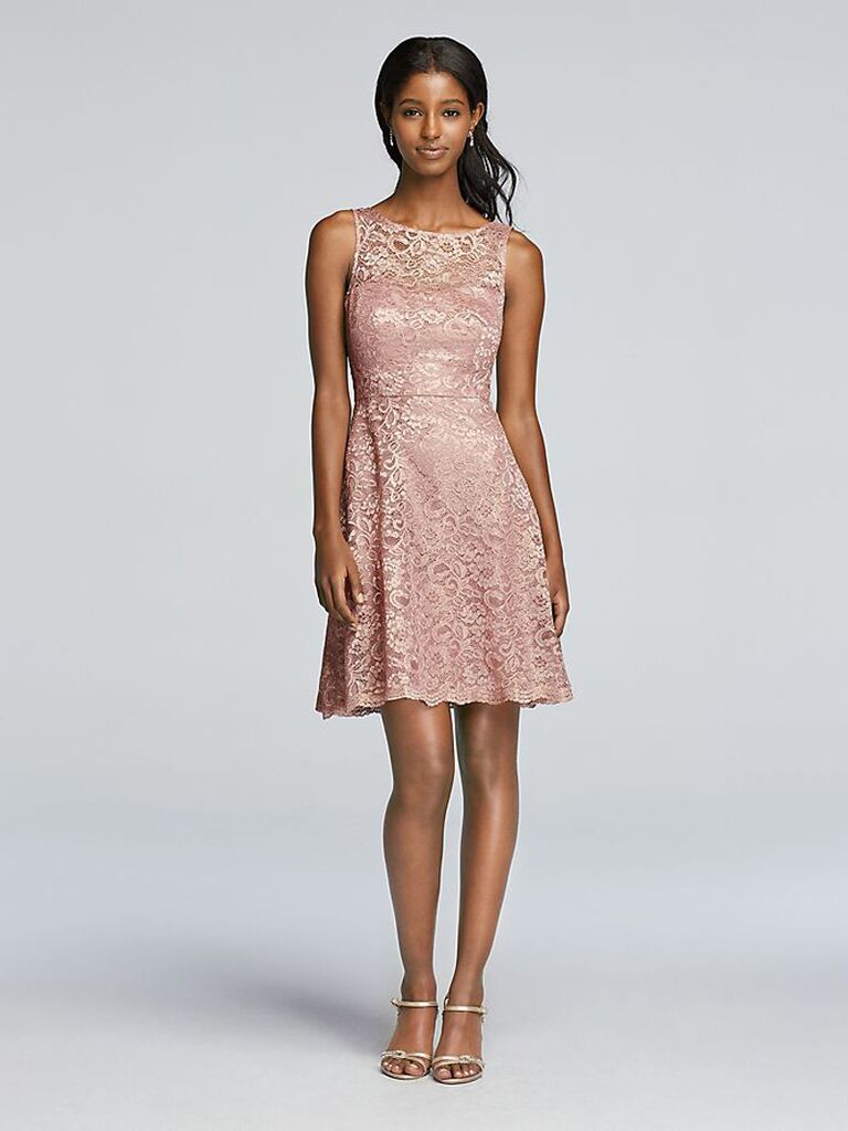 Short lace sleeveless rose gold bridesmaid dress