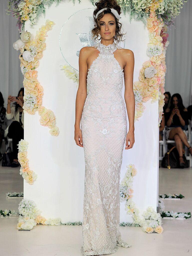 Julie Vino Fall 2018 Adela wedding dress with high collar