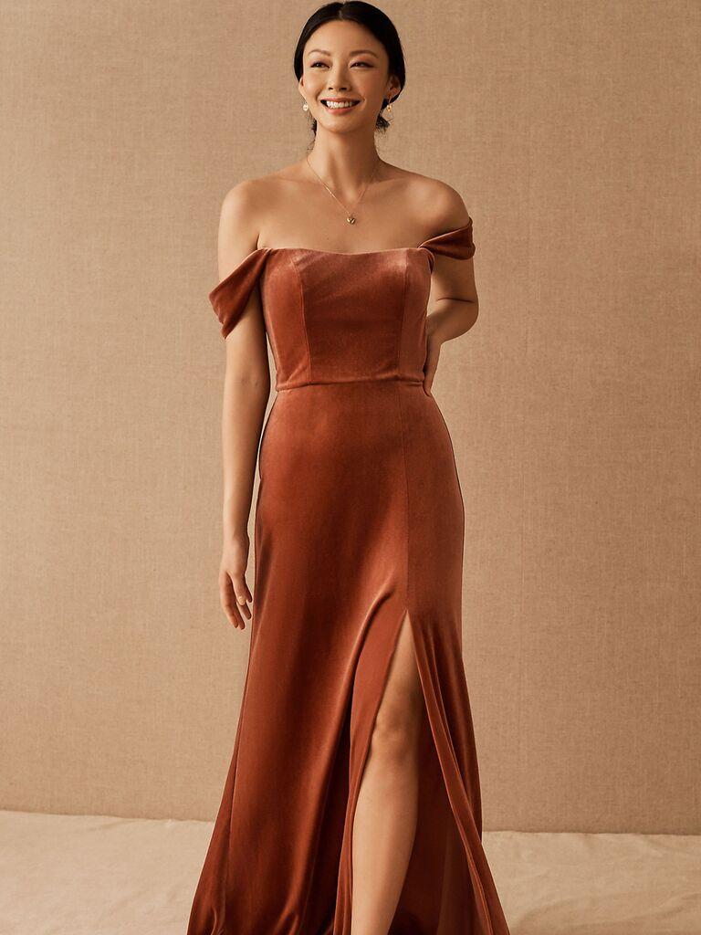 bhldn off the shoulder velvet winter bridesmaid dress in rose