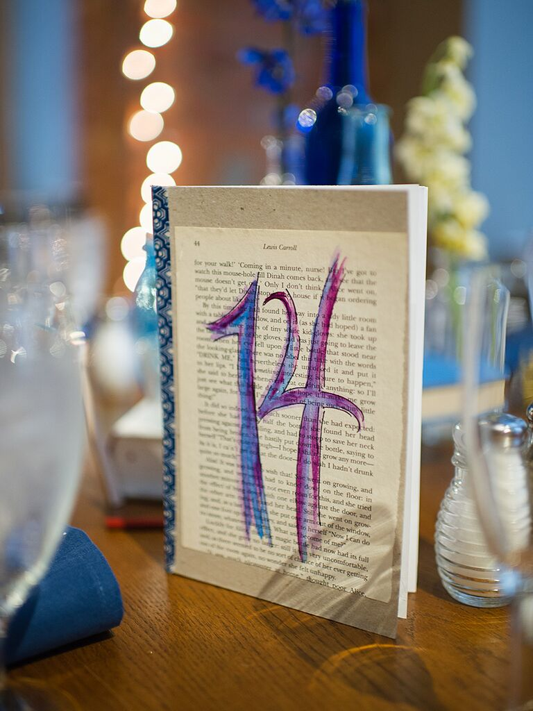 DIY painted wedding reception table numbers
