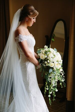 Large, Elegant White Blossom Bridal Bouquet