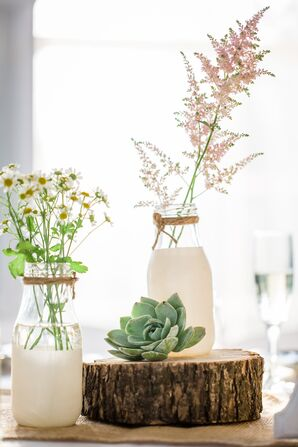 DIY Milk Bottle Centerpieces with Wildflowers