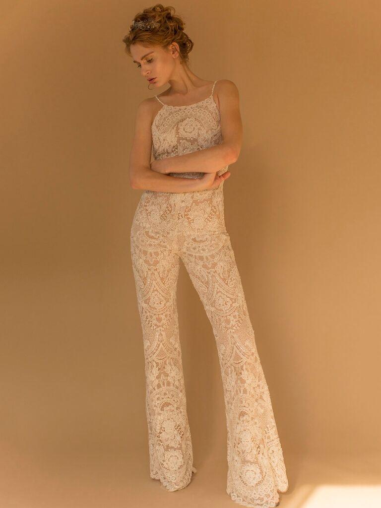 Lace wide leg jumpsuit