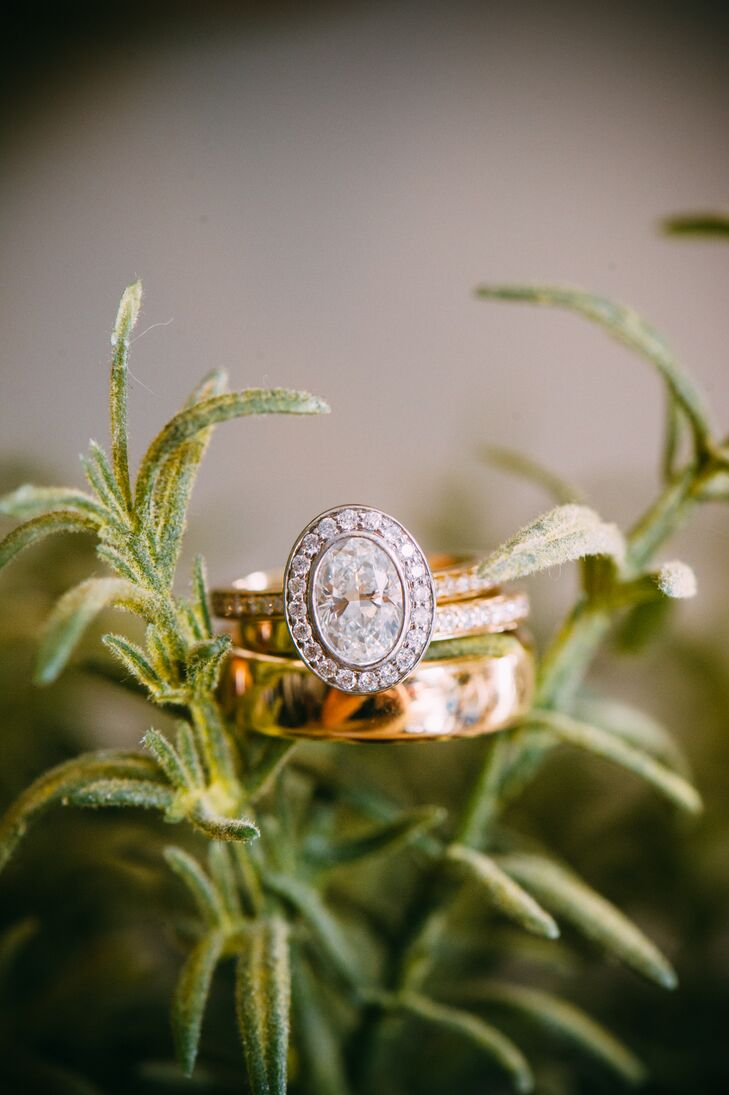 """""""Ryan has the ring custom made by Dominion Jewelers,"""" Molly says. """"It's my dream ring, an oval cut diamond set in platinum with a diamond halo. The band is gold with little diamonds encrusted in it. It was made to look like a family heirloom, and I hope to one day pass it on to my children and grandchildren."""""""