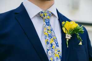 Whimsical Yellow Scrabble Tile Boutonniere and Patterned Floral Tie