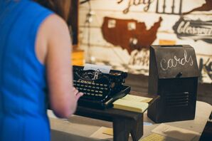 Typewriter Guestbook Messages at Wedding at The Turn Vintage Warehouse in Newport, Kentucky