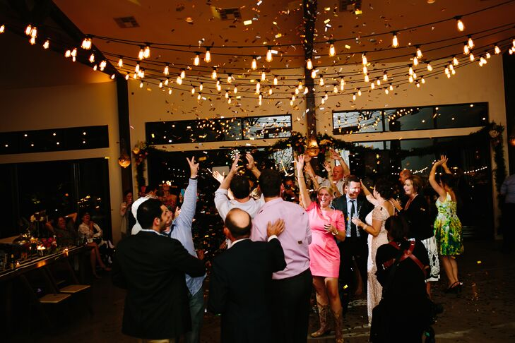 Paige and Matt's final surprise? Later in the night, they shocked their guests when a confetti cannon went off over the dance floor at Pecan Springs Ranch in Austin, Texas.